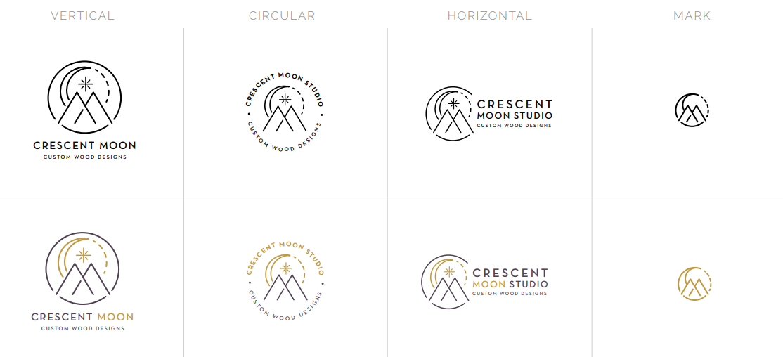 Crescent Moon Logo Variations